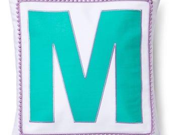 Girls Monogrammed Pillow Sham, M
