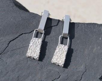 Silver trapeze earrings