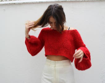 90s Red Wool Knit Bell Sleeve Cropped Jumper