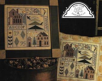 "HOMESPUN ELEGANCE ""Home Sweet Homes"" - Cross Stitch Pattern - Sampler and Pillow Design by Sandra Sullivan - Used VINTAGE Pattern"