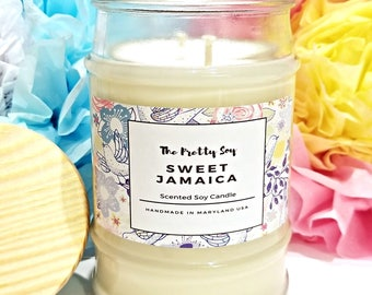 Scented soy candle SWEET JAMAICA , 100% natural soy wax, Tropical canlde, summer candle