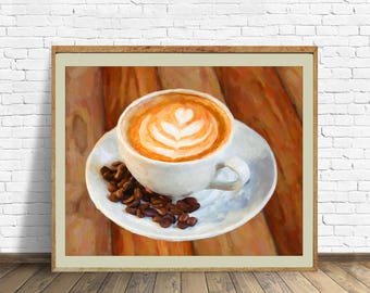 Cafe Latte Print, Coffee Art, Coffee Latte Decor, Kitchen Art Kitchen Decor Digital Download Printable File #bc2