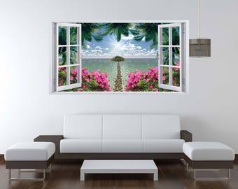 Removable Vinyl Wall Decal Open Window Wall Decor Tropical Island