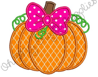 Girly Pumpkin Applique Design