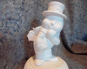 Ceramic Bisque Ready to Paint Basful Snowman