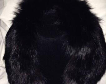 Black Faux Mink Collar