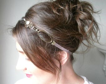 Accessory headband-maid of honor-satin ribbon and chain bronze metal.