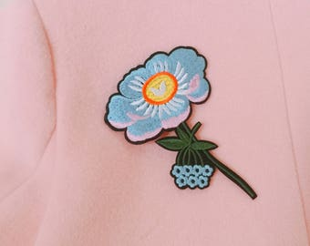 blue flower patch ,iron on patch ,rose patch ,jacket patch ,embroidered patch ,backpack patch
