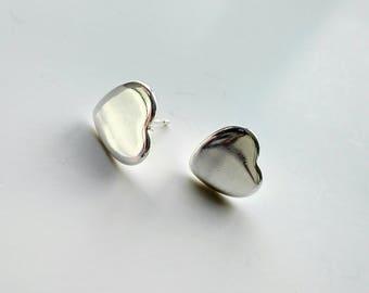 Sterling Silver Large Heart Stud Earrings