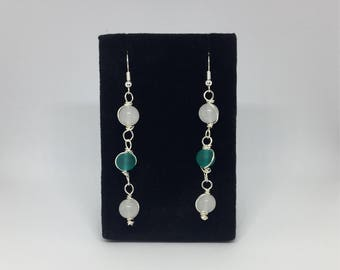 Snow Quartz and Sea Green Glass Earrings With Wire Accents