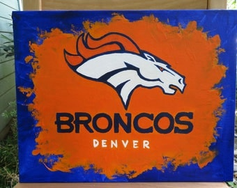 "Denver Broncos Logo Art - Hand Painted on Canvas Board 11""x14"" -  Sports Team Wall Art - Handmade Gift - Football Painting - Man Cave Gift"