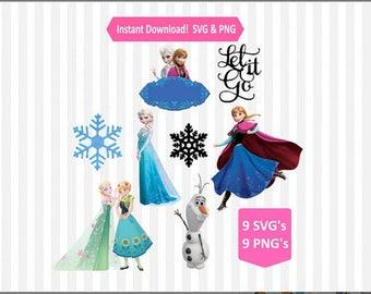 Frozen SVG Files bundle, Print and Cut, 9 SVG Files, 9 PNG Files, Elsa svg, Anna svg, Olaf svg, Silhouette, Cricut Cut