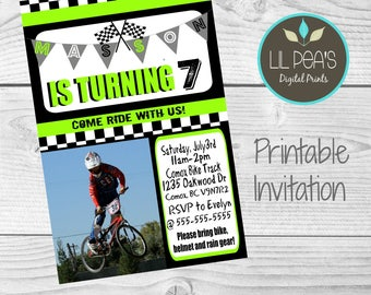Bike Birthday Party Invitation, Dirt Bike Theme Party, BMX Party, Mountain Bike Party Invitation, Bike Theme Party, BMX Birthday Invitation