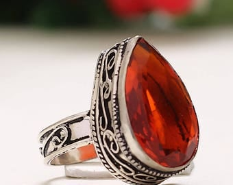vintage red and silver Topaz ring size 57