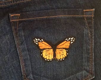Butterfly and bird jeans