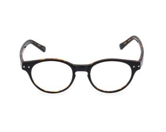 Classic 40s style HANDMADE spectacles 'MILLER' in Black Tortoise for men & women. Unique double layer Italian acetate.Rx Frame or readers