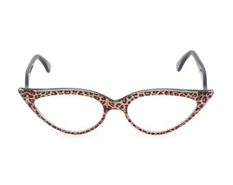 Outrageous dramatic & sexy almond shape Cat Eye Glasses Handmade for you 'JEANNE' Jaguar. Vintage style spectacle frame ready for your Rx