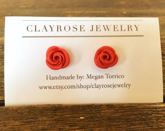 Red rose handmade polymer clay stud earrings, flower earrings
