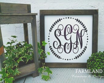 Monogram sign, Monogram Initials, Wedding Gift, Wooden Sign, Home Decor, Gifts