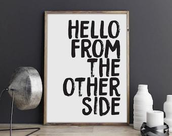 Hello Lyric Print, Modern Print, Adele Print, Gallery Wall Print, Song Lyrics, Lyric Art Print, Wall Art, Home Decor, Art Print, Quote Print
