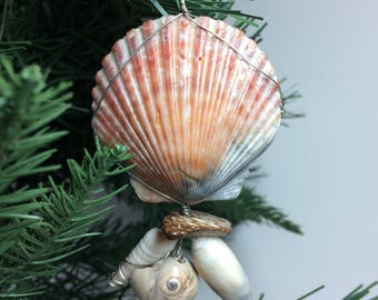 Real Seashell Wire Wrapped Christmas Ornament #3001