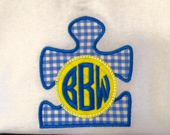 Autism Awareness Puzzle Monogram Shirt