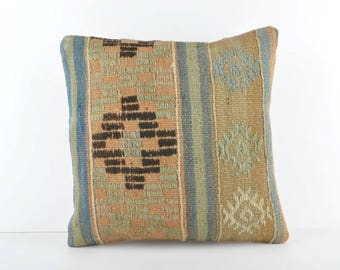 Vintage Kilim Pillow, 16x16 Kilim Pillow, Turkish Kilim Pillow, Decorative Kilim Pillow, Handmade Kilim Pillow, Bohemian Kilim Pillow