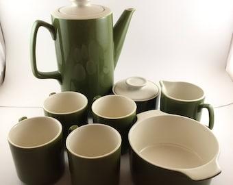 Cool Avocado Green Mid Century Modern Tea Set