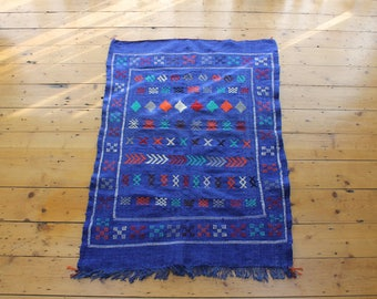 Handwoven Moroccan Indigo Magic Carpet Rug