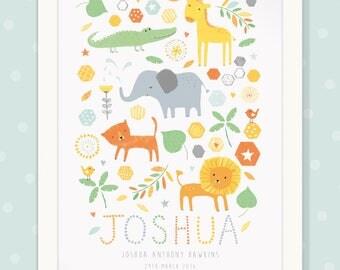 Personalised Baby boy/ girl/ Children's Print -SAFARI- A3 (unframed)