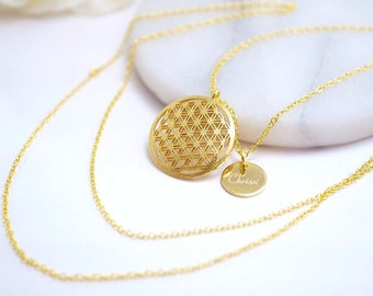 Chain ~ flower of life ~ engraving ~ brass ~ gold