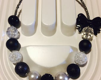 Black and Silver Bubble Gum Necklace