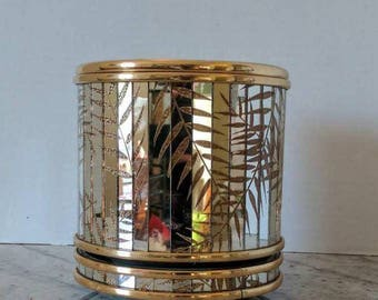 Vintage Mid Century Hollywood Regency Ice Bucket | Wine Cooler | Mirrored Ice Bucket | Gold and Silver