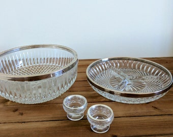 Mid Century Four Piece Crystal Serving Ware | Crystal Serving Bowl, Platter, and Cups | VIntage Crystal
