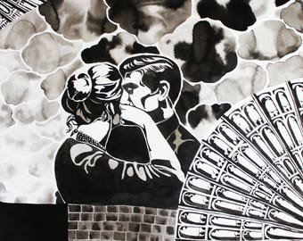 India Ink Collage Drawing 3