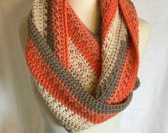 Chunky Winter Cowl, Thick and Warm, Peach, Cream, and Grey
