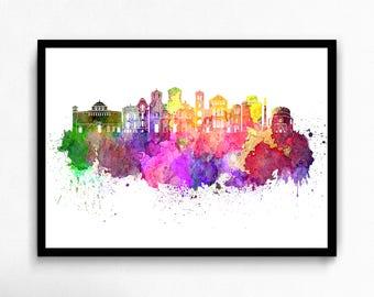 Watercolor Thessaloniki canvas art print poster