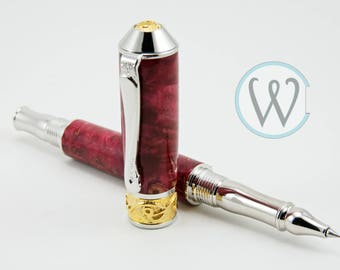 Nouveau Sceptre Rhodium & 22kt Gold Rollerball Pen with Red Maple Burl