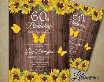 60th Birthday Invitation, Floral Women Birthday Invitation, Any Age Birthday Invite, Sunflower Invitation, Digital file, 39