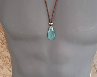 Chalcedony Silver 925 on suede leather cord pendant necklace! Superb! Man and woman
