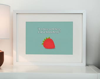 Strawberry print, Funny fruit, Fabric effect, wall art