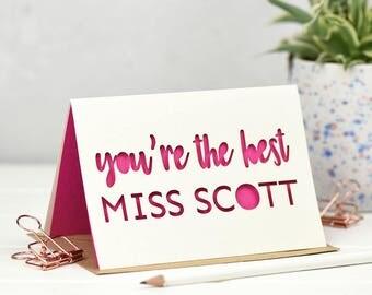 Thank You Teacher - Teacher Gift - Teacher Card - Thank you Teacher Gift - Teacher Appreciation - Laser Cut Card - Best Teacher