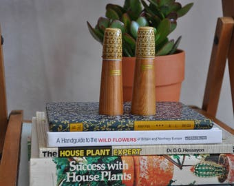Mid century vintage wood and ceramic salt and pepper cellars
