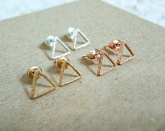 Rose Gold Triangle Studs, Simple Open Triangle Earrings, Minimal Triangle Stud Earrings, Open Triangle Earrings, Rose Gold Geometric Studs