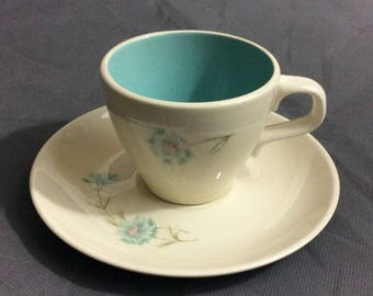 Vintage Blue & Cream Ceramic Coffee / Tea Mug and Saucer Blue Floral Design Unbranded