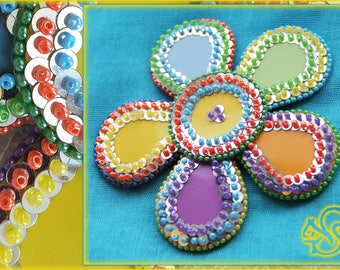 Brooch flower badge Bright Pin flower Colorful brooch Yellow Orange Green Purple Embroidered pin Large brooch Sequins Bohemian brooch Best