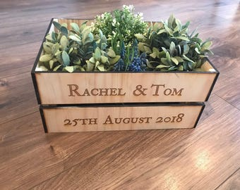 Wooden Crate/ Personalised Crate/ Wedding Crate/ Rustic Crate/ Wedding Centrepiece/ Rustic Wedding Decor/ Wedding Decor/ Wedding Gift/ Crate