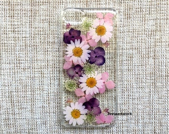 Genuine pressed dried flower iphone case - crystal clear case