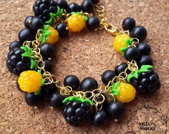 Berry bracelet, Polymer clay bracelet, Polymer clay jewelry, Handmade jewelry, Gift idea