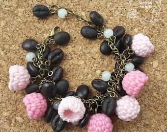 Coffee & raspberries bracelet, Polymer clay bracelet, Polymer clay jewelry, Handmade jewelry, Gift idea